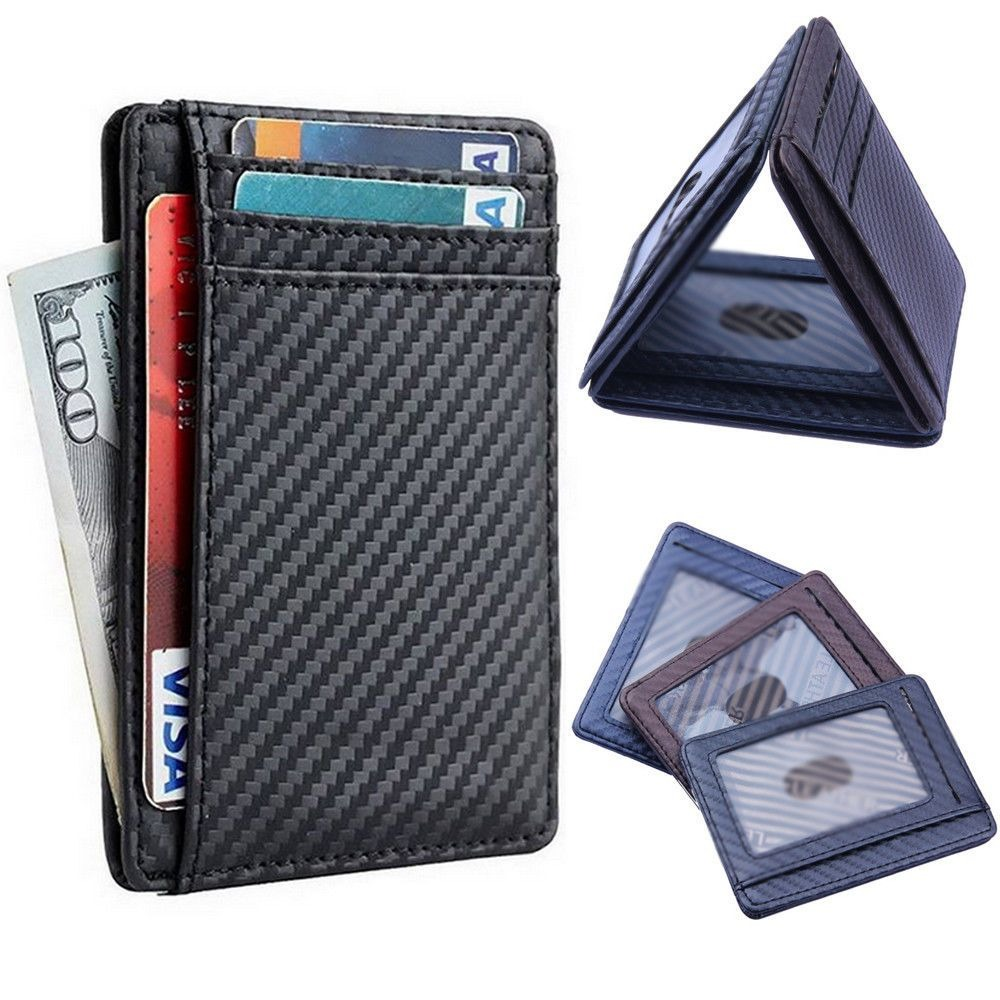 New Fashion Pu Leather Carbon Fiber Wallet Card Holder Case Pocket Leather ID Block Money Bags  ID Card Wallet Holder Case