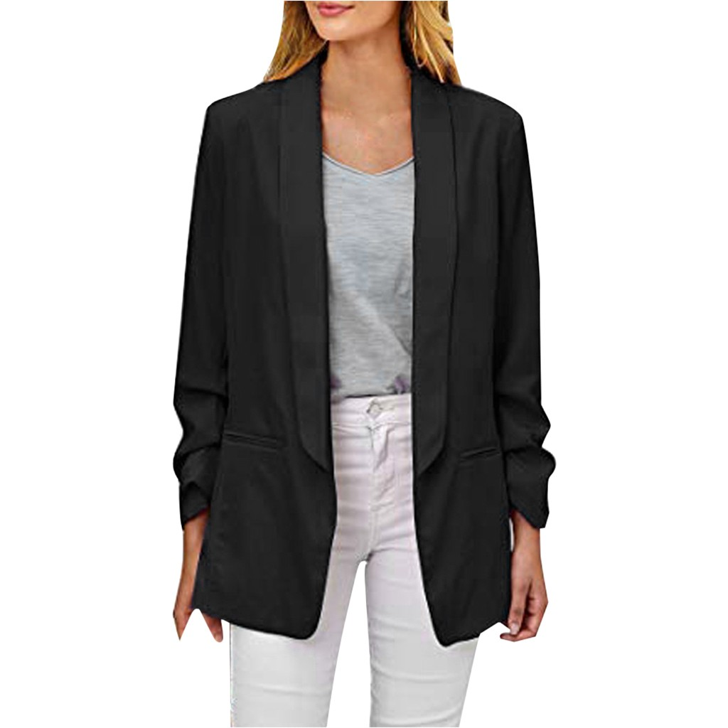 FEITONG Womens Casual Blazer Ruched Long Sleeve Open Front Fit Office Cardigan  Jacket куртка женская