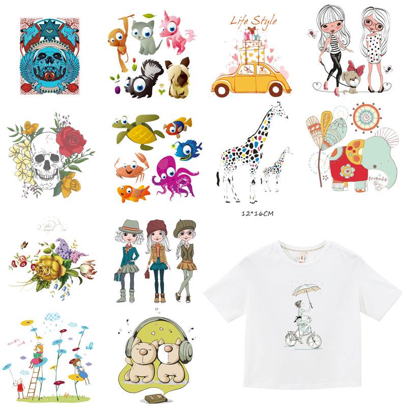 Cartoon Iron On Patches Heat Transfer Elephant Giraffe Patch For Stripe On Clothes Boy Girl T-shirt DIY Custom Magic Sticker E