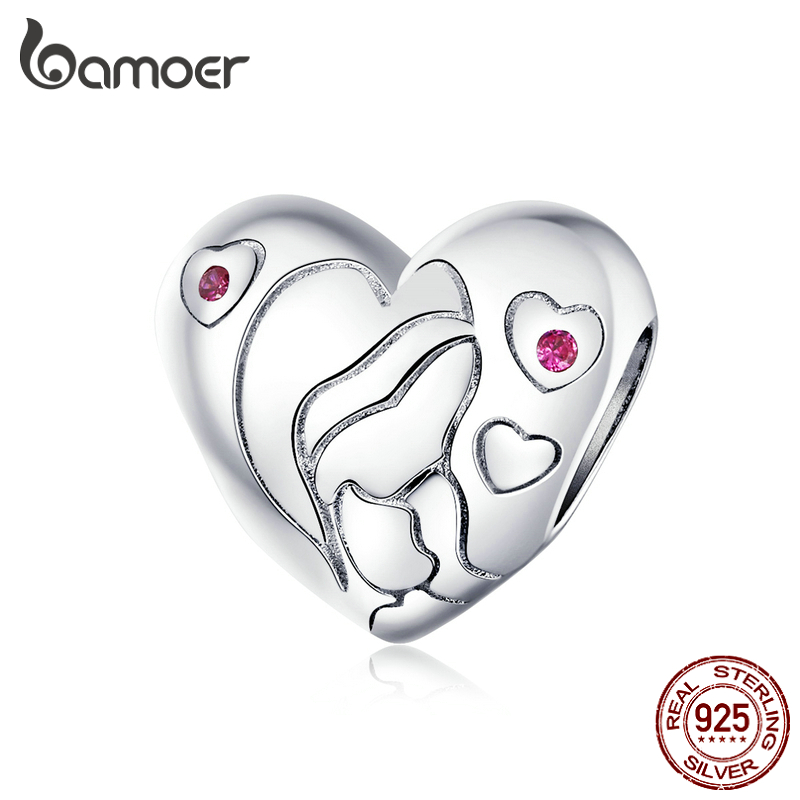 bamoer Mother's Day Collection 925 Sterling Silver Heart Mom and Baby Charm fit for Original Silver Bracelet or Bangle BSC216(China)