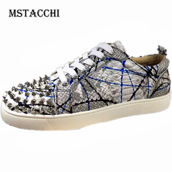 MStacchi 2020 Fashion High Quality Men Casual Shoes Colour Mixture Rivet Lace-Up Flat Male Sneakers Outdoor Motion Men Footwear