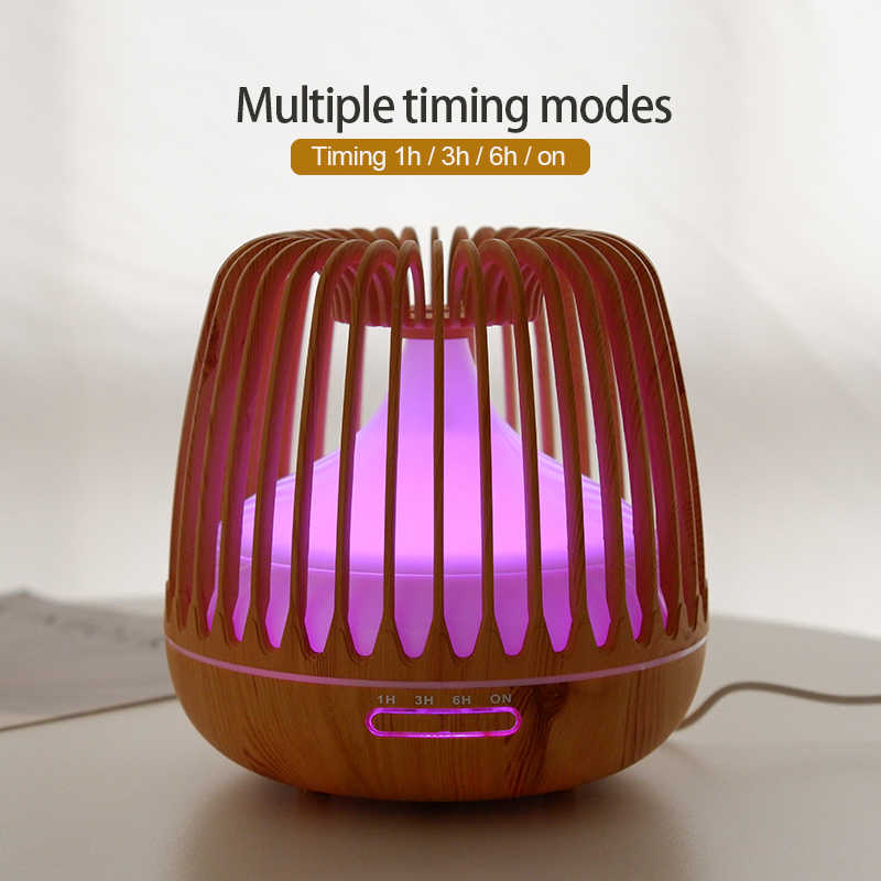 Kbaybo 500Ml Thơm Khuếch Tán Tinh Dầu Siêu Âm Thanh Máy Tạo Độ Ẩm Không Khí Hạt Gỗ 7 Đèn LED Đổi Màu Mát Phun Sương Dành Cho nhà