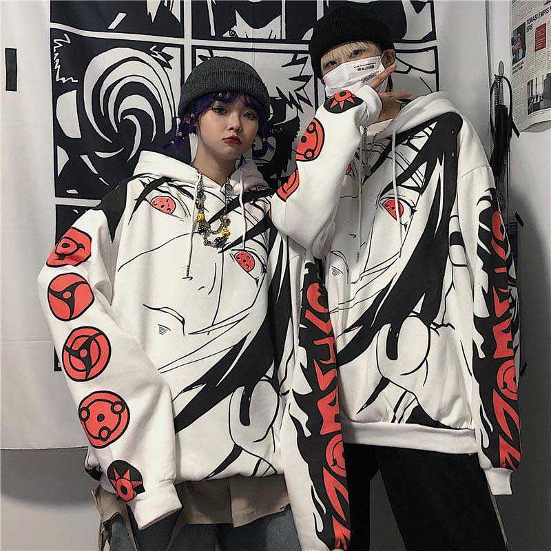 NiceMix Harajuku Gothic Anime Naruto Hoodies Women Uchiha Itachi Sharingan Print Hoodies Casual Warm Pullover Hooded Sweatshirt