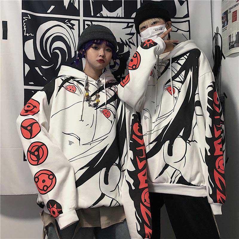 NiceMix Harajuku Gothic Anime Naruto Hoodies Women Uchiha Itachi Sharingan Print Hoodies Casual Warm Pullover Hooded Sweatshirt