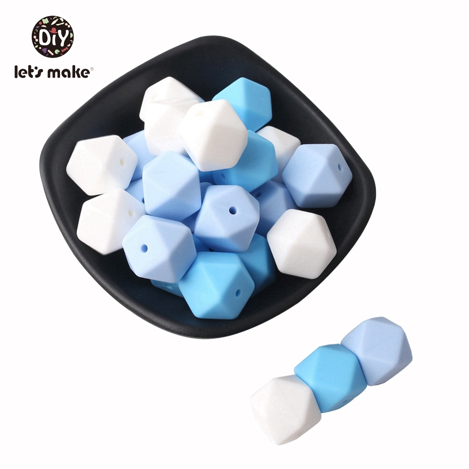 Let's Make Silicone Beads 17mm Geometric Octagonal 50pc Silicone Teething DIY Crafts Nursing Necklace Beads Baby Teether