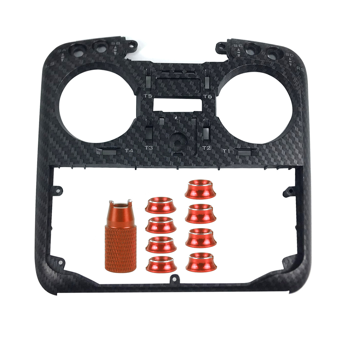 JMT Protective Shell Carbon Fiber RC Transmitter Front Panel With Switch Nut For Jumper T16 PLUS Pro Radio Controller TX