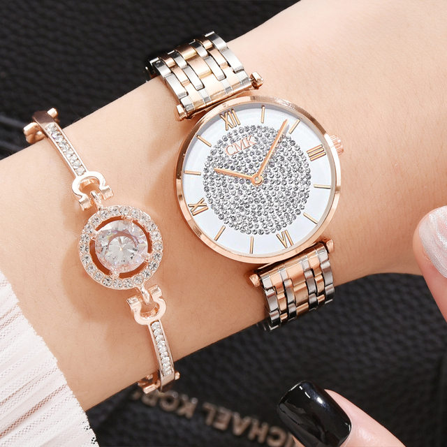 Women Watches Simple Romantic Rose Gold Ladies Watch 2