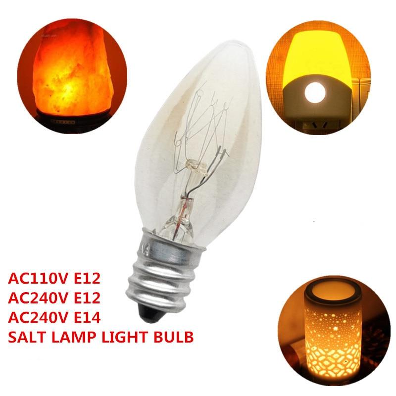 Himalayan Salt Lamp Special Use Incandescent Light Bulb E14/E12 Lamp Base AC110V/AC240V