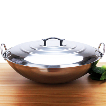 Non-magnetic Stainless Steel Wok Extra Large Ears Round Bottom Explosion Fried Ding Commercial Canteen Rural Cauldron