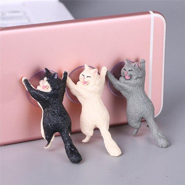 1pc Cat Figurine Miniature Cat Sucker Design Phone Holder mini fairy garden Cartoon statue craft Home Car Decorative 2