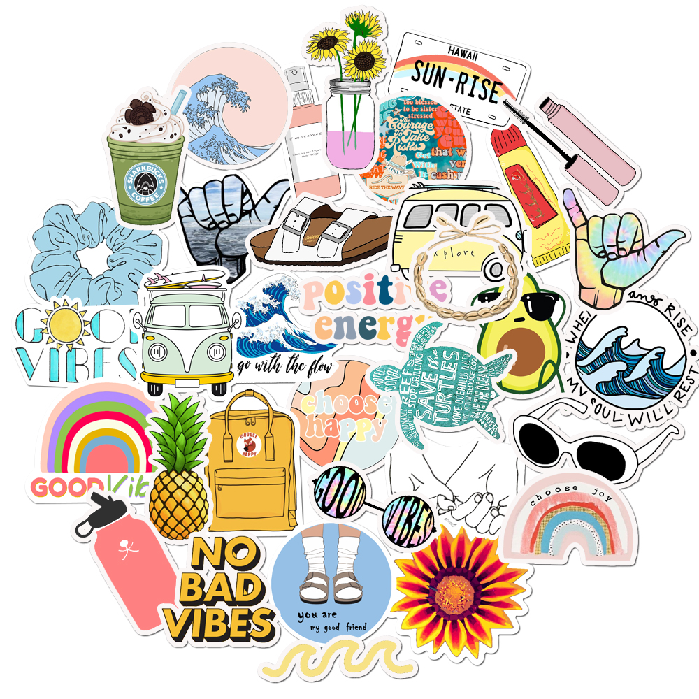 35pcs 100% Vinyl Cute Nature VSCO Girl Stickers For Water Bottles Waterproof Aesthetic Stickers For Girls For Laptop Phone Car
