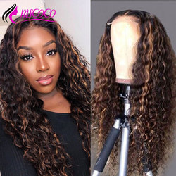 Mscoco Water Wave Wig Highlight Lace Front Human Hair Wigs Pre Plucked Lace Frontal Wig 200 Density Ombre Colored Human Hair WIg
