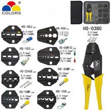 HS-03BC Crimping Pliers Clamp Tools Cap/coaxial Cable Terminals Kit 230mm  Mini COLORS Carbon Steel Multifunctional Electrica
