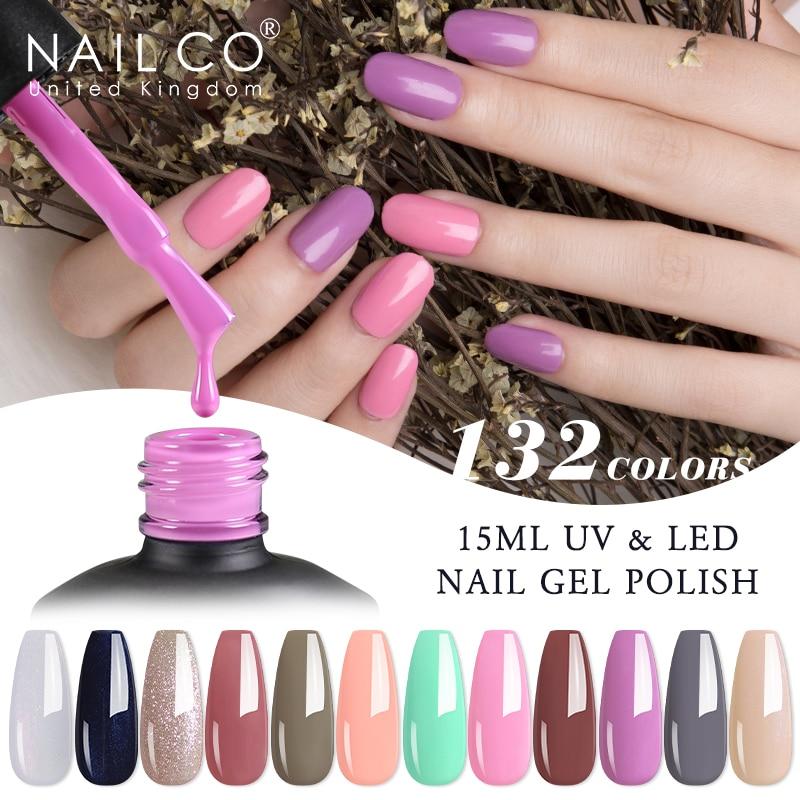 NAILCO 132 Цвета, семиперманентный Ультрафиолетовый Лаки Гель-лак для ногтей гель для дизайна ногтей маникюр Дизайн бескислотные Лаки гибридны...