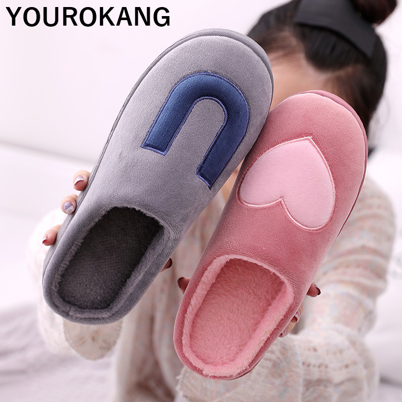 Men Home Slippers Lovely Male Winter Warm Shoes Indoor Floor Cotton Flip Flops Couple Plush Footwear Bedroom Household Slipper in Slippers from Shoes
