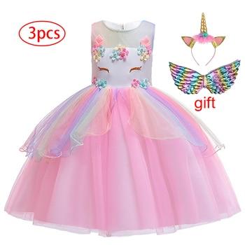 Girl's Unicorn Dress with Headband and Wings 3 Pcs Set 6