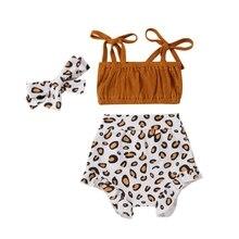 Headband Pants Three-Piece-Set Summer Clothing Leopard Newborn Baby-Girl Infant Cotton