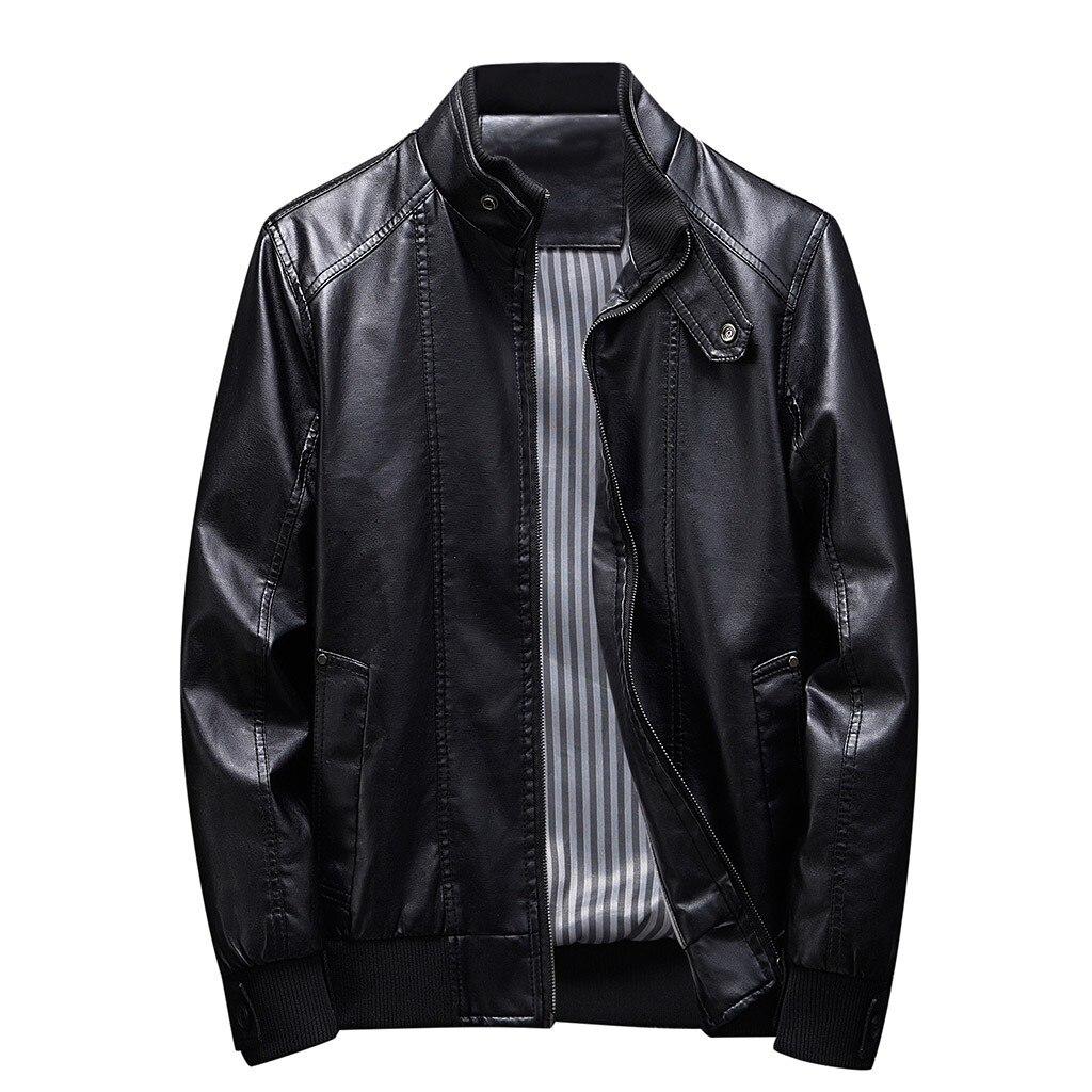 H3dfa00e998274d99bcb3fbaf0161bdcci Zipper Closure for Men Leather Jacket Autumn Winter Warm Fur Lining Lapel Leather outerwear layer дубленка мужская кожаная Coat