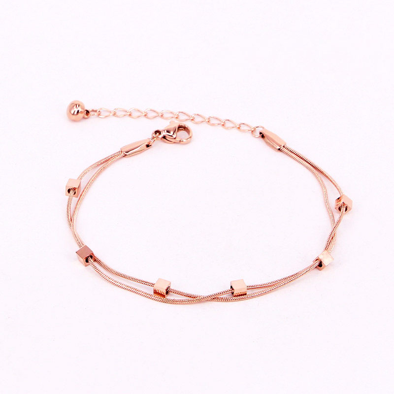 New Design Double Snake Bone Chain 6 Cube Anklets Stainless Steel Gold Color Anklet For Women And Girls Gift Jewelry Wholesale