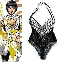 New JOJO 5 Anime JoJo's Bizarre Adventure Golden Wind Bruno Bucciarati Cosplay Costume Lingerie Lace Top Inner Jumpsuits Party