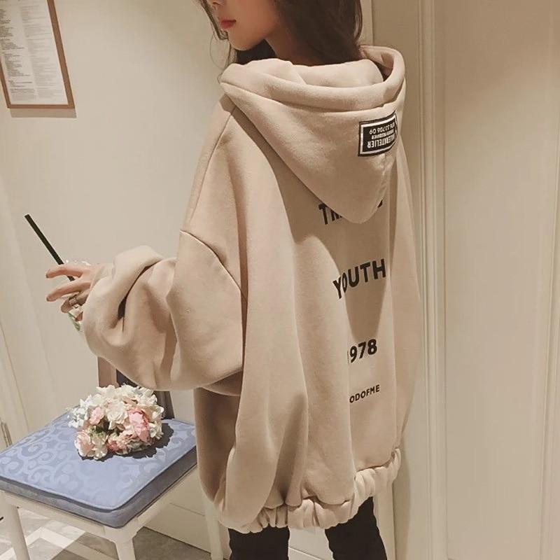Winter New Korean Hip Hop Loose Oversized Hoodies Women Casual Hooded Sweatshirt Bubble Sleeve Zipper Coat Tops Kpop Streetwear