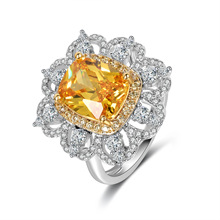 Classic Fashion Ladies Jewelry Vintage Royal Aristocratic Zircon Ring Square Super Large Colored Inlay
