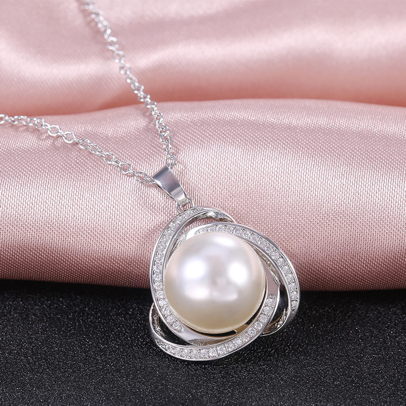 Huitan New Delicate Simulated Pearl Pendant Necklaces Fashion for Wedding Engagement Party Fine Chain Necklace Women Jewelry Hot(China)