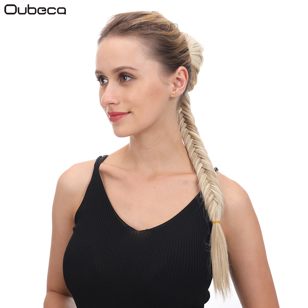 Oubeca Synthetic Long Fishtail Braids Hair Ponytail Extensions Clip In Drawstring Straight Braiding Ponytail Hairpiece For Women