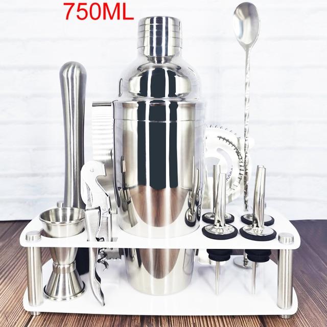 12pcs/set Stainless Steel Cocktail Shaker Set 750ml/550ml Include Drinks Strainer Bottle Opener Maker Mixer Bar Wine Tools