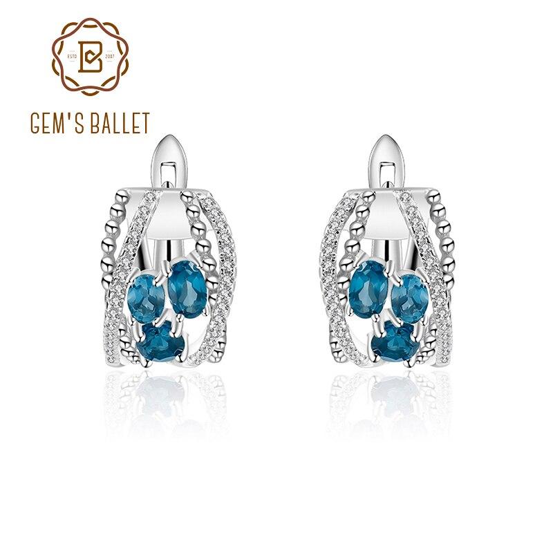 GEM'S BALLET 1.6Ct naturel topaze bleu londres clips boucles d'oreilles 925 en argent Sterling pierre de naissance pierres précieuses boucles d'oreilles pour les femmes bijoux