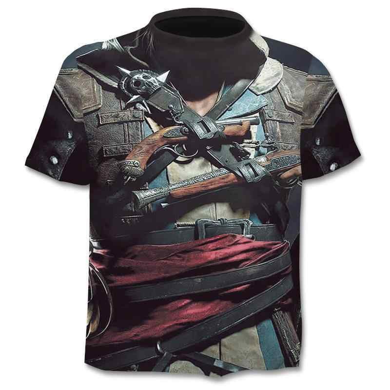 2019 yaz yeni 3d kafatası T shirt erkekler kısa kollu gömlek komik T shirt japonya Punk Anime gotik 3dT-shirt erkek giyim