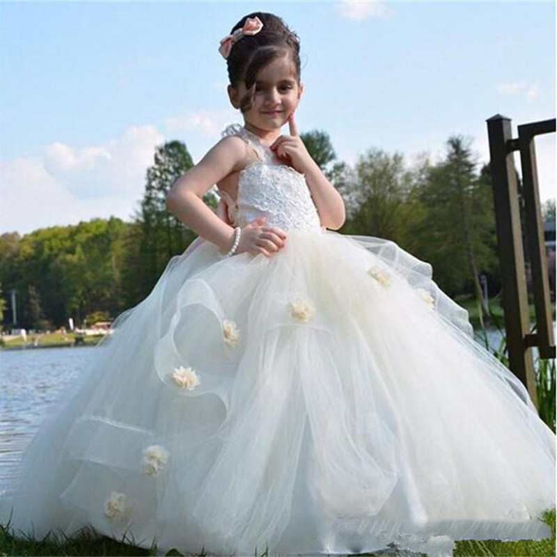 Flower Girls Dresses For Weddings Layers Handmade Flowers Lace Girls Wedding Dress Tulle Puffy Kids Party Prom Gown
