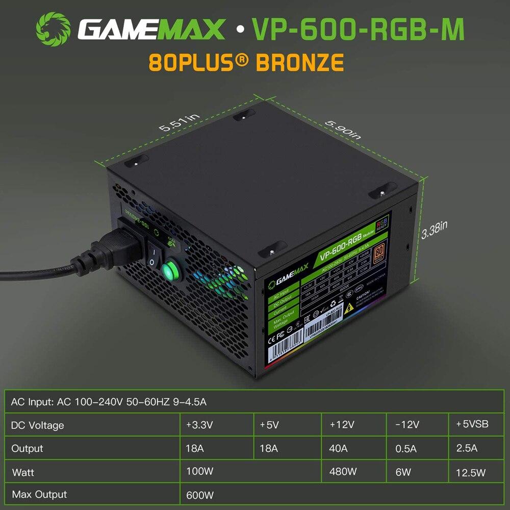 GameMAX VP-600-M-RGB RGB PC Power Supply 600W Semi Modular 80+ Bronze PSU PFC Silent Fan PC Computer SATA Gaming PC Power Supply 2