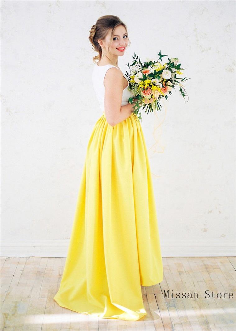 Yellow Full Length Bridal Skirt Wedding Skirt Wedding Party Skirt High Low Puffy Wedding Dress Petticoat