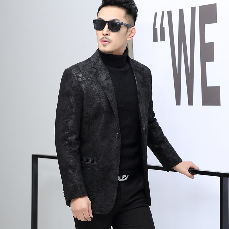 Genuine Leather Formal Coat Men Fashion Spring Autumn Printed Slim Blazer Luxury Wedding Office Black Suit Jacket Plus Size 5XL