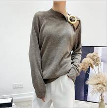Brooch off the shoulder sweater women autumn winter office ladies plus size wool sweaters knitted pullover vintage elegant tops(China)