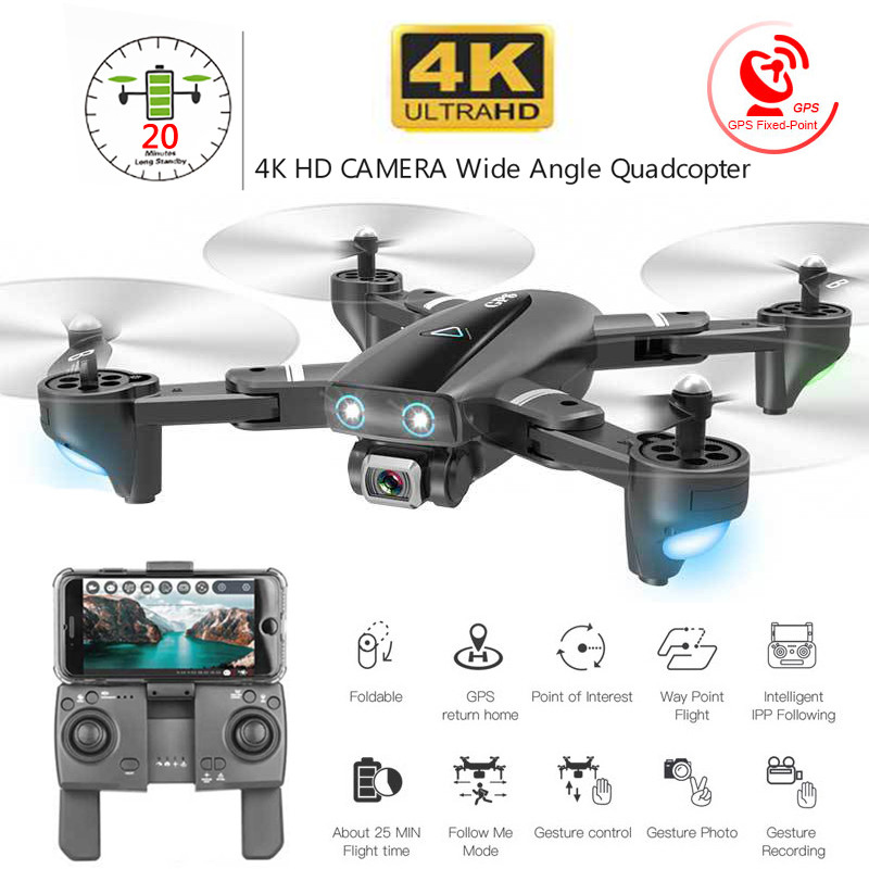 GPS Drone 4K WIFI 1080P FPV Camera Drones Gps Follow Me Altitude Hold Wide Angle Quadcopter With Camera Foldable RC Drone