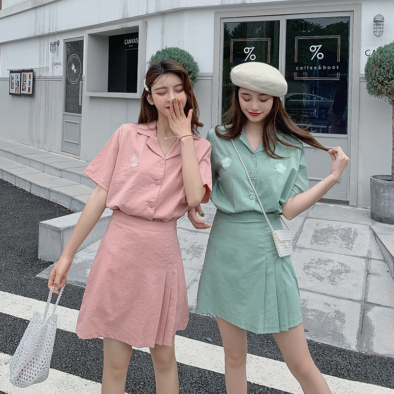 Cotton Linen Western Style By Age WOMEN'S Suit Summer Casual Korean-style Loose-Fit Short-sleeved Shirt Short Skirt Two-Piece Se