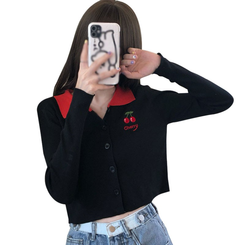 New Women Tops Fashion Long-sleeved Embroidery Thin Knitted Short Top Lazy Style Sweet Cherry Print Sweater image