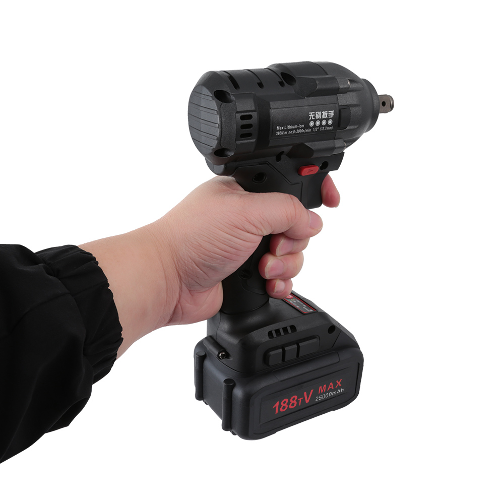 """1/2"""" 21V 25000mAh Electric Rechargeable Brushless Impact Wrench Cordless Socket Wrench Power Tool Hand Drill Installation