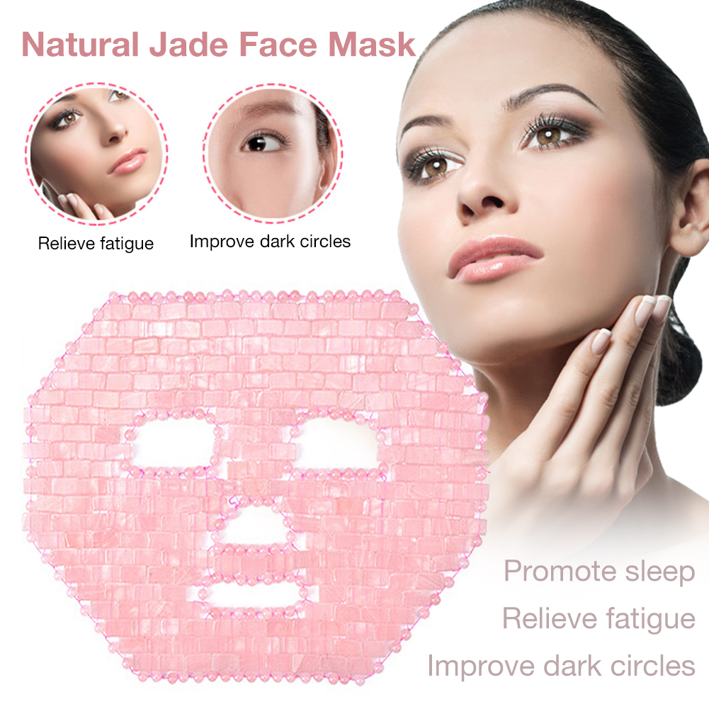Cooling Natural Facial Amethyst Rose Quartz Jade Sleep Face Mask For Beauty&Cooling&Healing Improve Dark Circles Facial MaskTool