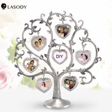 photo frame tree Display with 7 Hanging picture frames sets frame diy wedding table frames for photos  family Christmas present giftgarden 5x7 silver alloy classic crown photo frames vintage picture frame table decoration anniversary gift wedding decor