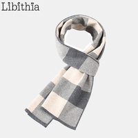 Men Plaid 100% Wool Scarf Warm Winter Smart Casual High Quality Grey Black Navy Blue Clothes Accessories W03