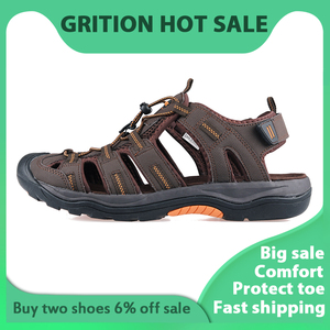 Image 2 - GRITION Men Outdoor Sandals Summer Breathable Flat Sole Beach Shoes Comfort Soft Walking Hiking Non Slip Nubuck Leather 2020 New