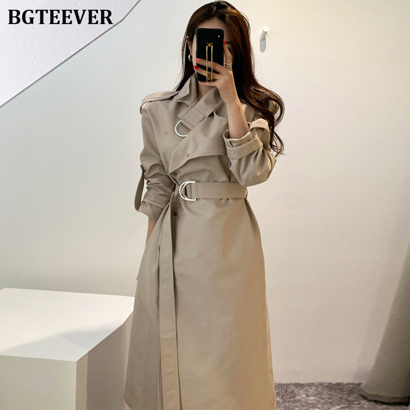 Women Trench Coat Long Windbreaker Europe America Fashion Trenches Female Single Breasted Slim Long Trench With Belt 2019