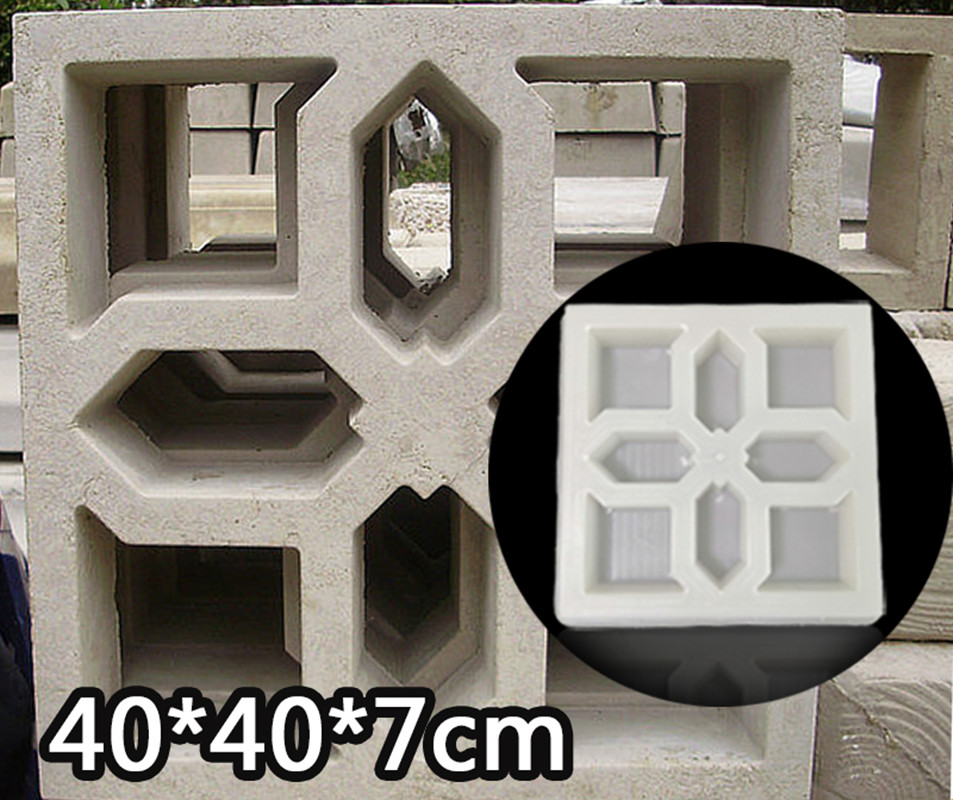 Cement Antique Brick Mold Square Garden Window Making Brick Mould 3D Carving Anti-Slip Concrete Plastic Paving Molds 40x40x7cm