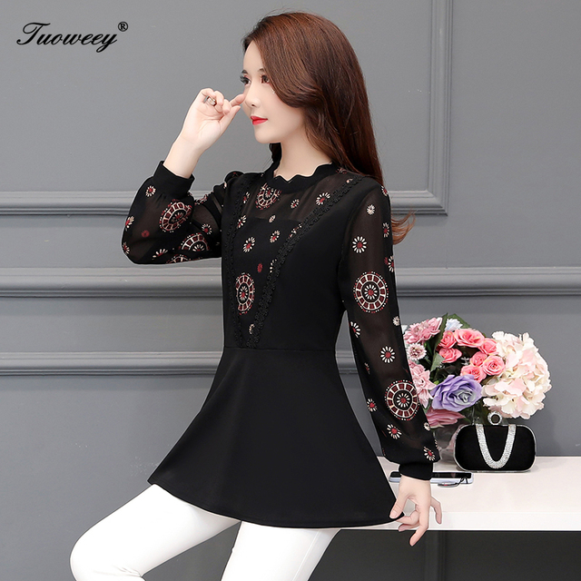 2019 New Arrival Fashion autumn long sleeve floral casual Shirt Female Casual see throughPlus Size elegant Printed Blouse 4