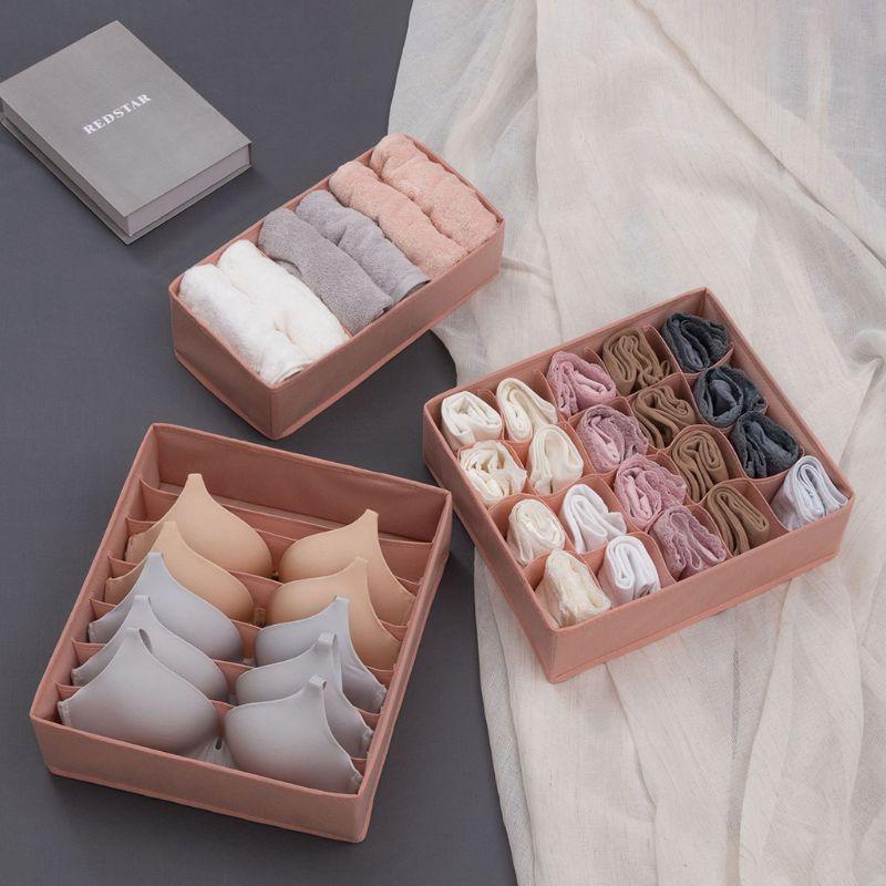 3PCS Foldable Closet Drawer Organizer Divider Storage Box For Underwear Bra Sock