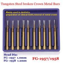 Fraises dentaires en carbure d'acier de tungstène à grande vitesse, fraises de coupe en métal, outils de dentiste FG-1957/1958 10 pièces