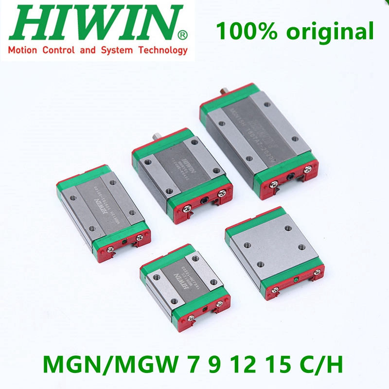 Original Hiwin MGN7C MGN9C MGN12C MGN15C MGN7H MGN9H MGN12H MGN15H MGW9C MGW12C MGW15C MGW9H MGW12H Linear Guide Block Carriages